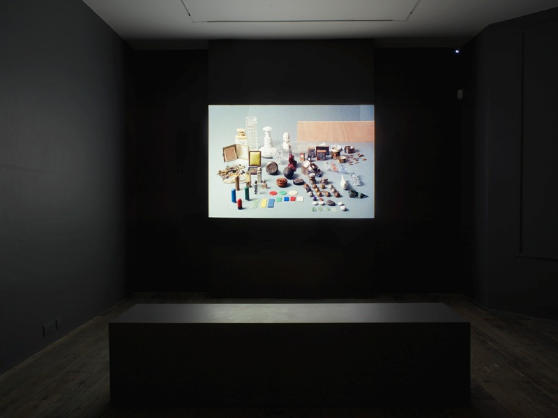 Installation view of Isabelle Cornaro: Paysage avec poussin at the South London Gallery, 2015. Courtesy of the artist, photo by Andy Keate.