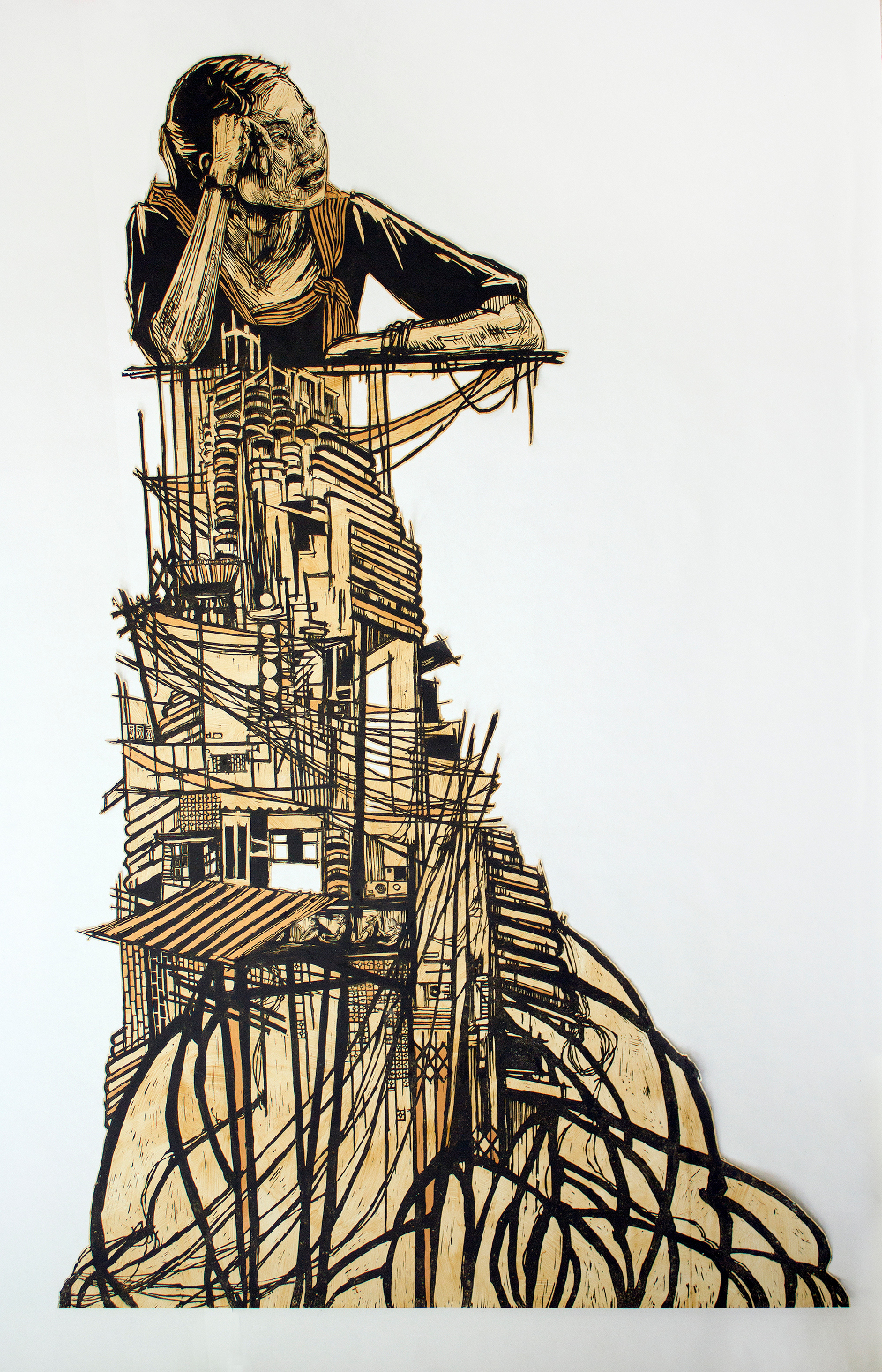 Swoon, Bangkok, 2008, block print on mylar, coffee stained, hand painted, 274.3 x 182.9 cm