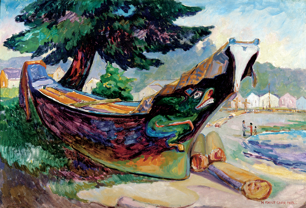 Emily Carr, Indian War Canoe (Alert Bay), 1912, oil on cardboard 65 x 95.5 cm, The Montreal Museum of Fine Arts, Purchase, gift of A. Sidney Dawes