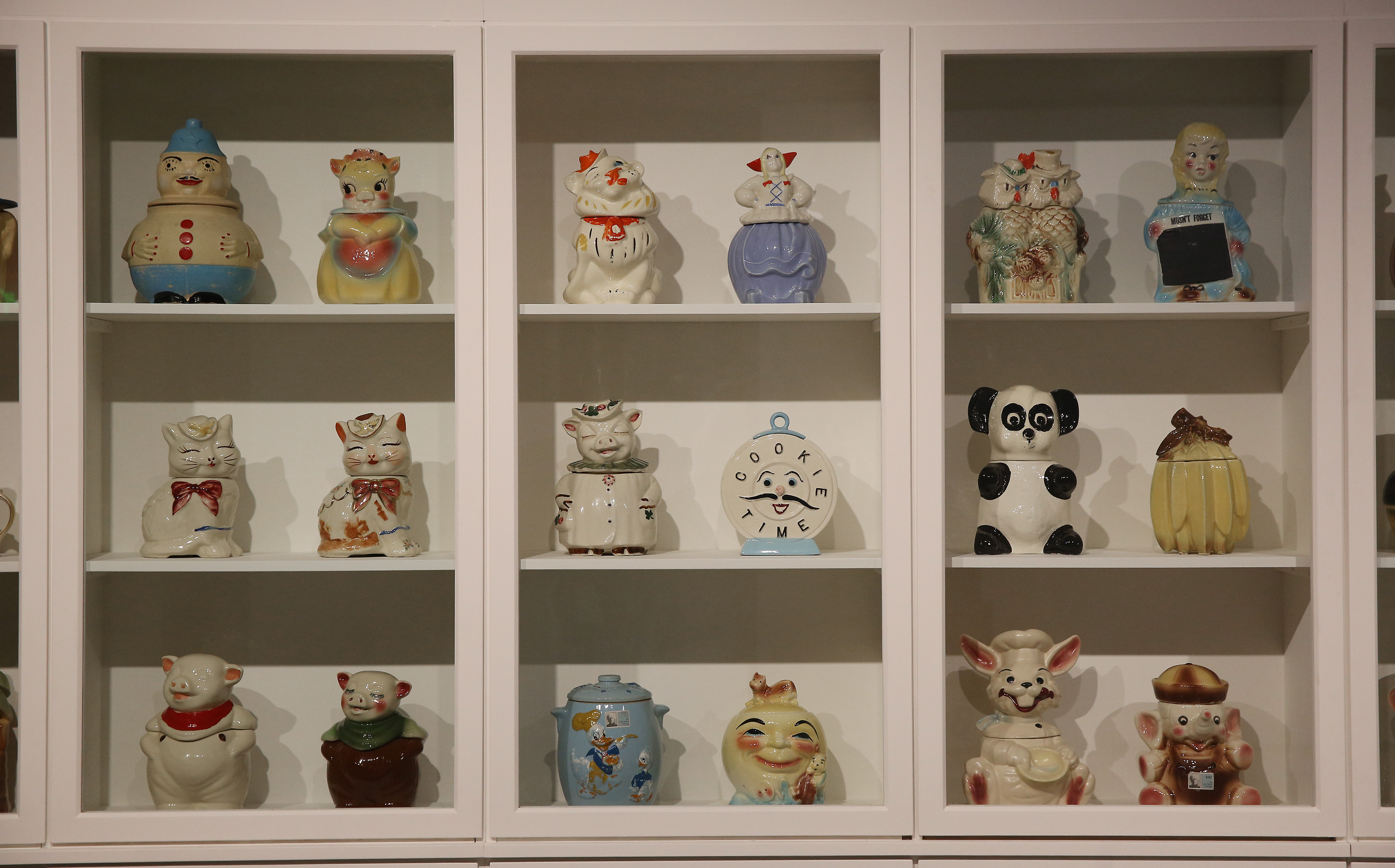 Andy Warhol's cookie-jars collection. Magnificent Obsessions: The Artist as Collector, Barbican Art Gallery © Peter MacDiarmid, Getty Images