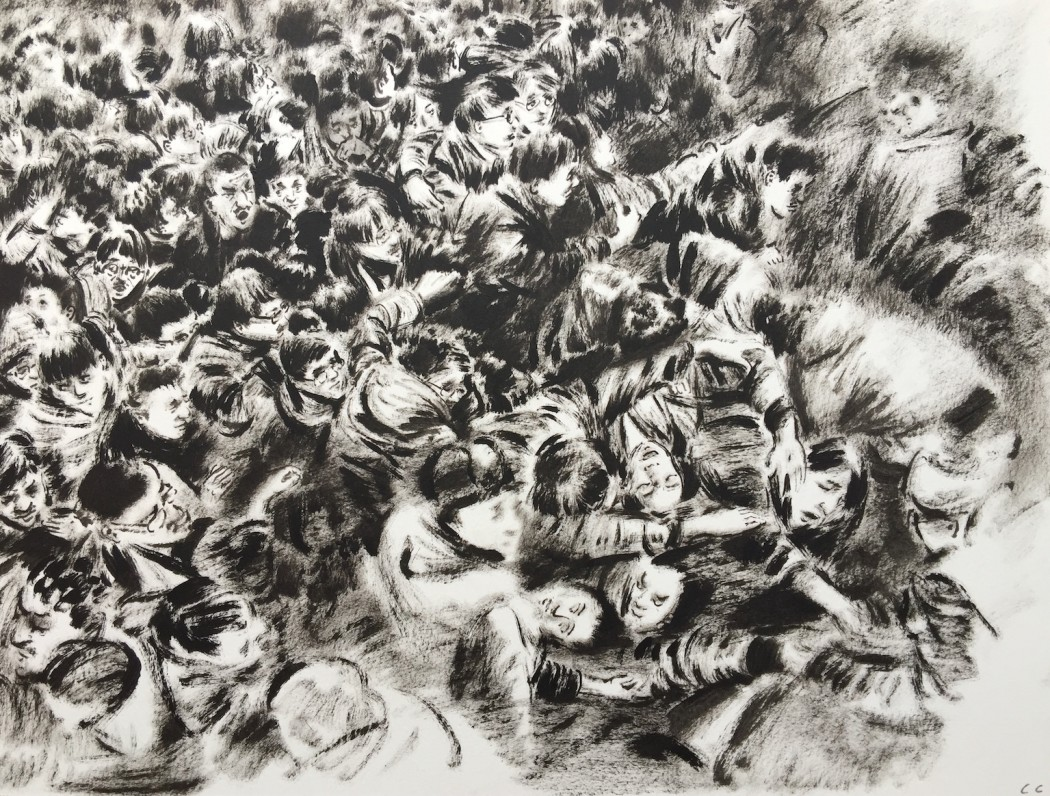 Lu Chao, Crowded People, 2015, oil on paper, 35x28cm, courtesy of the artist and Rosenfeld Porcini.
