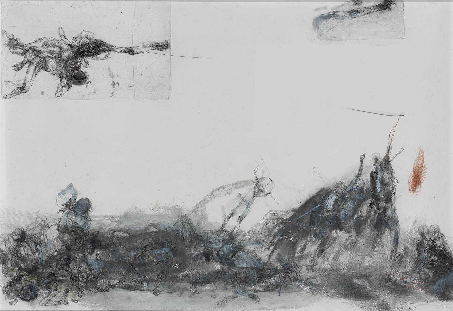 Lanfranco Quadrio, untitled, 2015, acrylic, oil, pastel, graphite and pen on canvas, 70x100cm, courtesy of the artist and Rosenfeld Porcini.