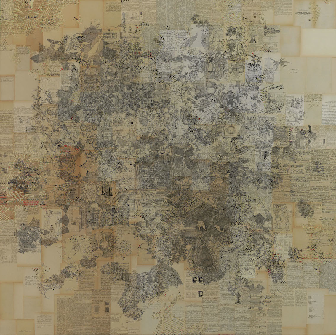 Antonis Donef, untitled, 2014, ink on paper mounted on canvas, 220x219.5cm, courtesy of the artist and Rosenfeld Porcini.