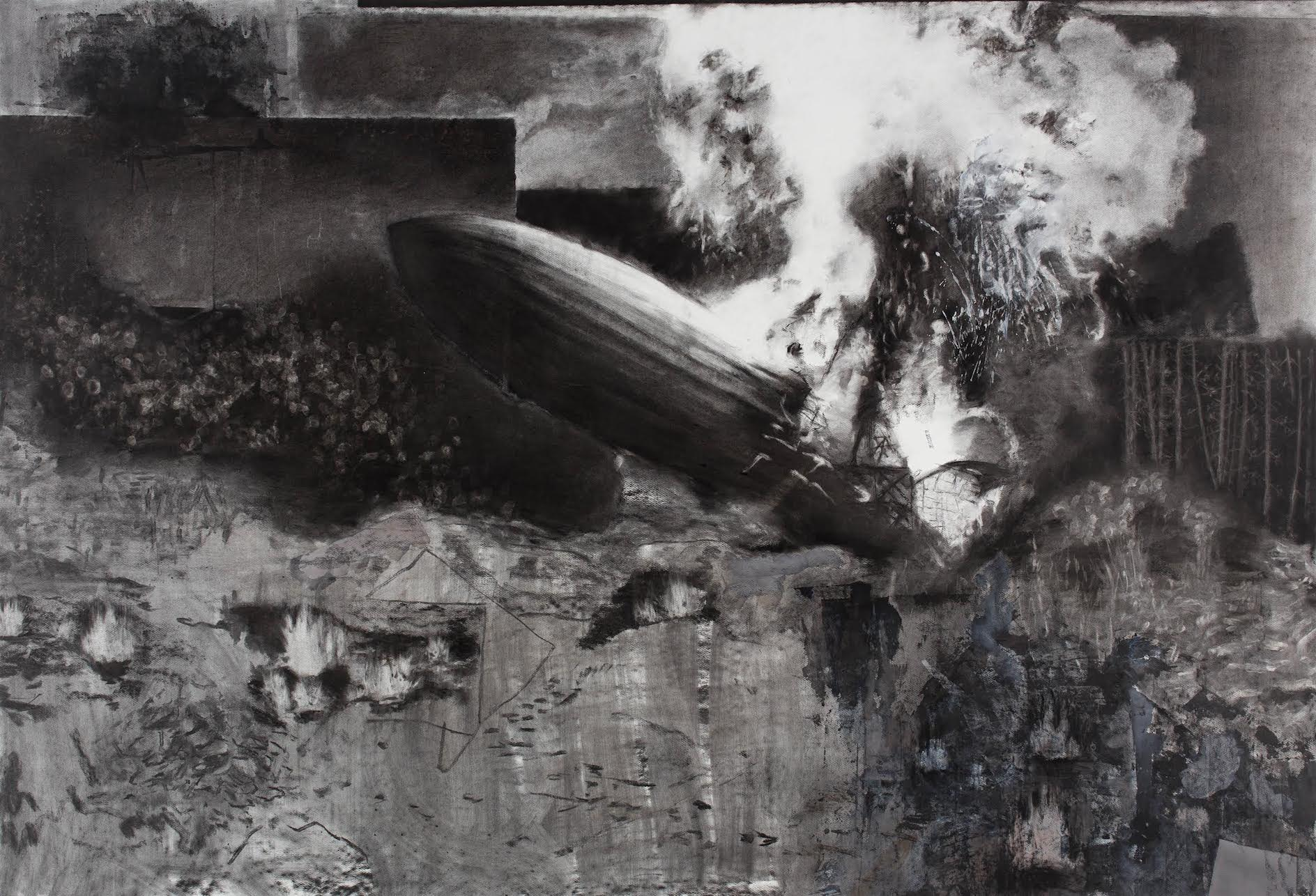 Marcel Rusu, A trip to the moon, 1902-2014, charcoal, pastel and acrylic on paper, 210x117cm, courtesy of the artist and Rosefeld Porcini.